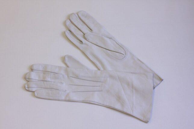 White leather kid gloves