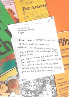 Photo of zines from GWL's collection