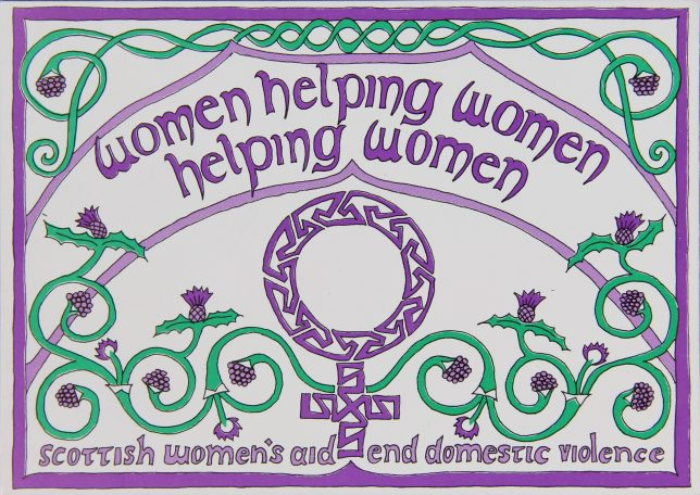 Card designed by Anne McChlery in the early 1990s outlining a core principle of Women's Aid - 'Women helping women helping women'.