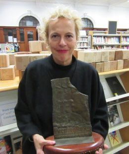 Adele Patrick with the Scotswoman of the Year award-award