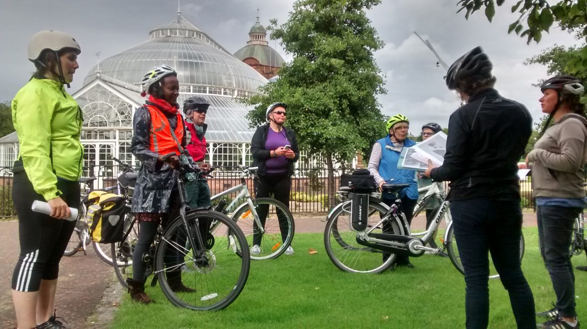 On the Women's Heritage Bike Ride, outside the Winter Gardens on Glasgow Green