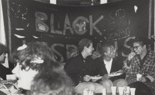 Women attending an event with Black Lesbians Banner, unknown date, Camden Lesbian Centre and Black Lesbian Group collection