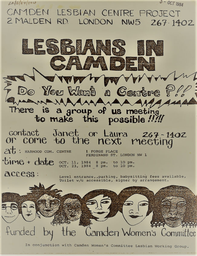 'Do You Want a Centre?', Camden Lesbian Centre Leaflet, unknown designer, printed 1982
