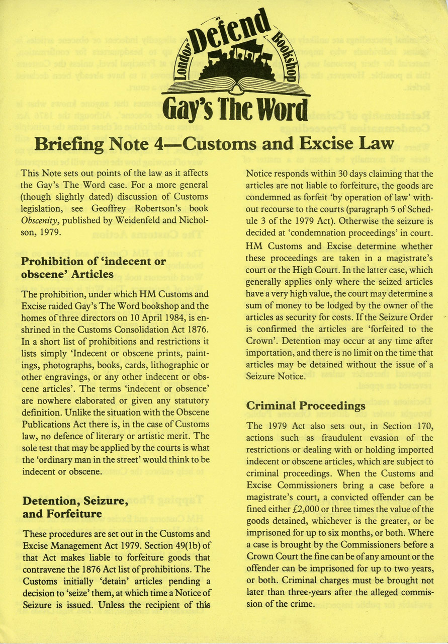 Gay's The Word Campaign, Briefing Note 4 from the Campaign Materials booklet, 1984-1985