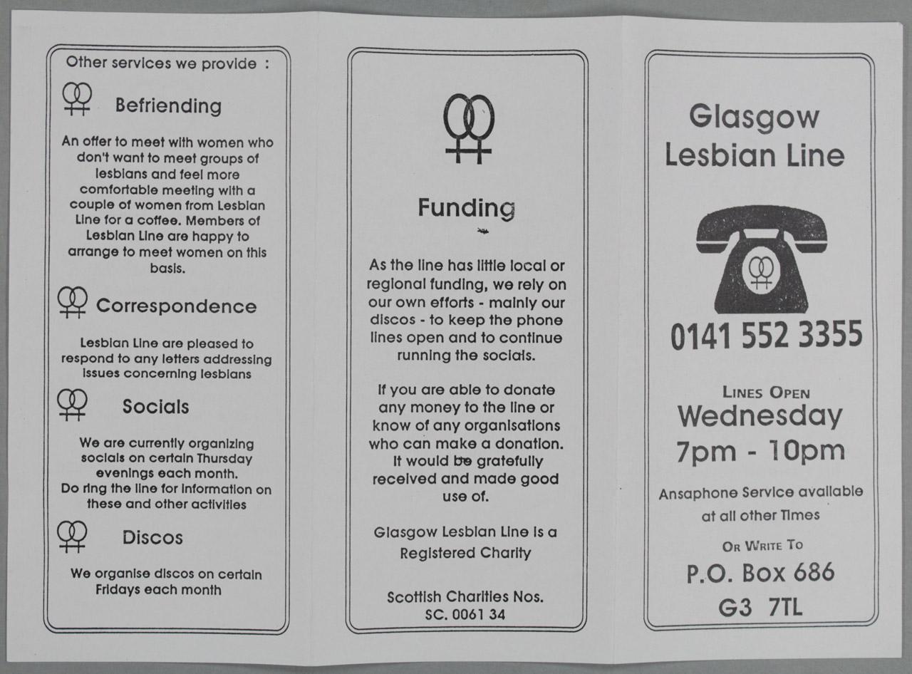 Glasgow Lesbian Line, Information Leaflet, unknown designer, circa 1990