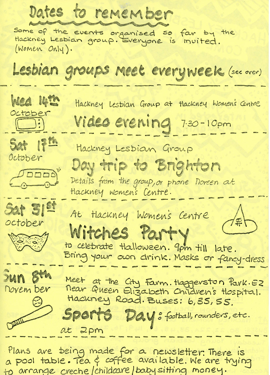 Hackney Lesbian Women's Group Events Programme c. 1984