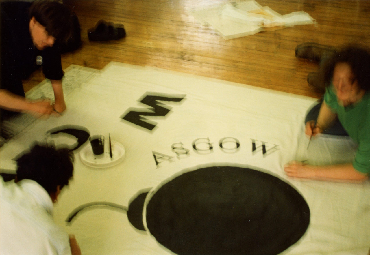 Banner Making at GWL for the Lesbian Avengers action at the Mitchell Library, 1995