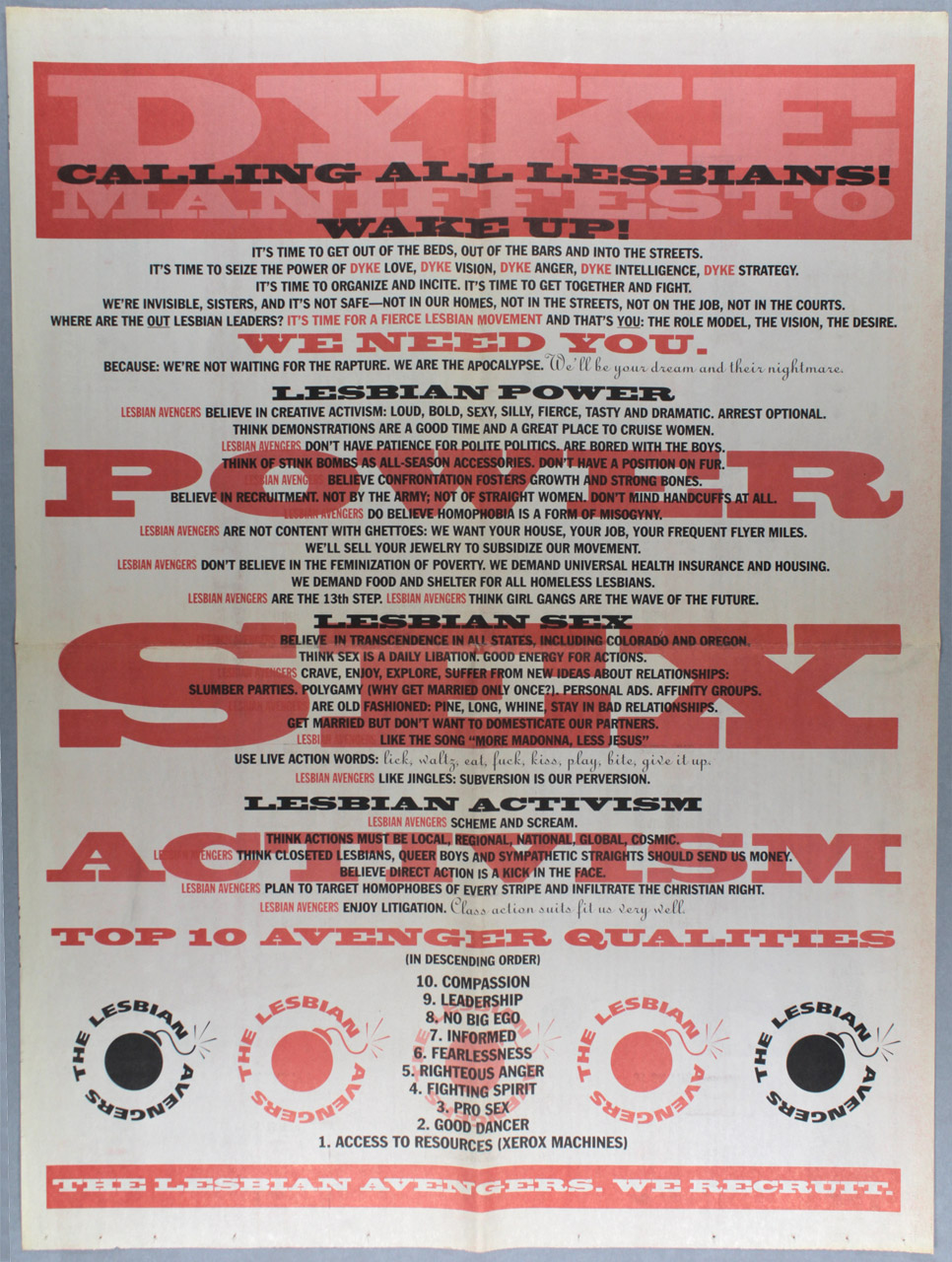Lesbian Avengers Manifesto and Action Poster, designed by Carrie Moyer, New York, c. 1992-1994