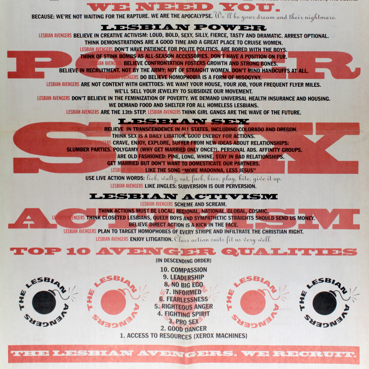 Lesbian Avengers information poster detail