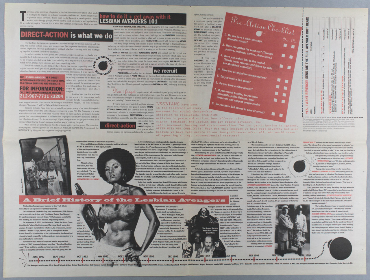 Lesbian Avengers Manifesto and Action Poster (reverse), designed by Carrie Moyer, New York, c. 1992-1994