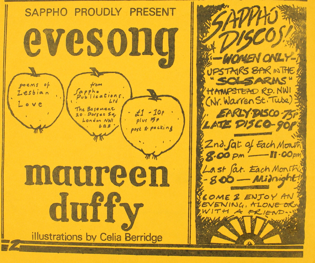 Sappho Disco and Maureen Duffy advertisement, Sappho, Volume 7, Number 7