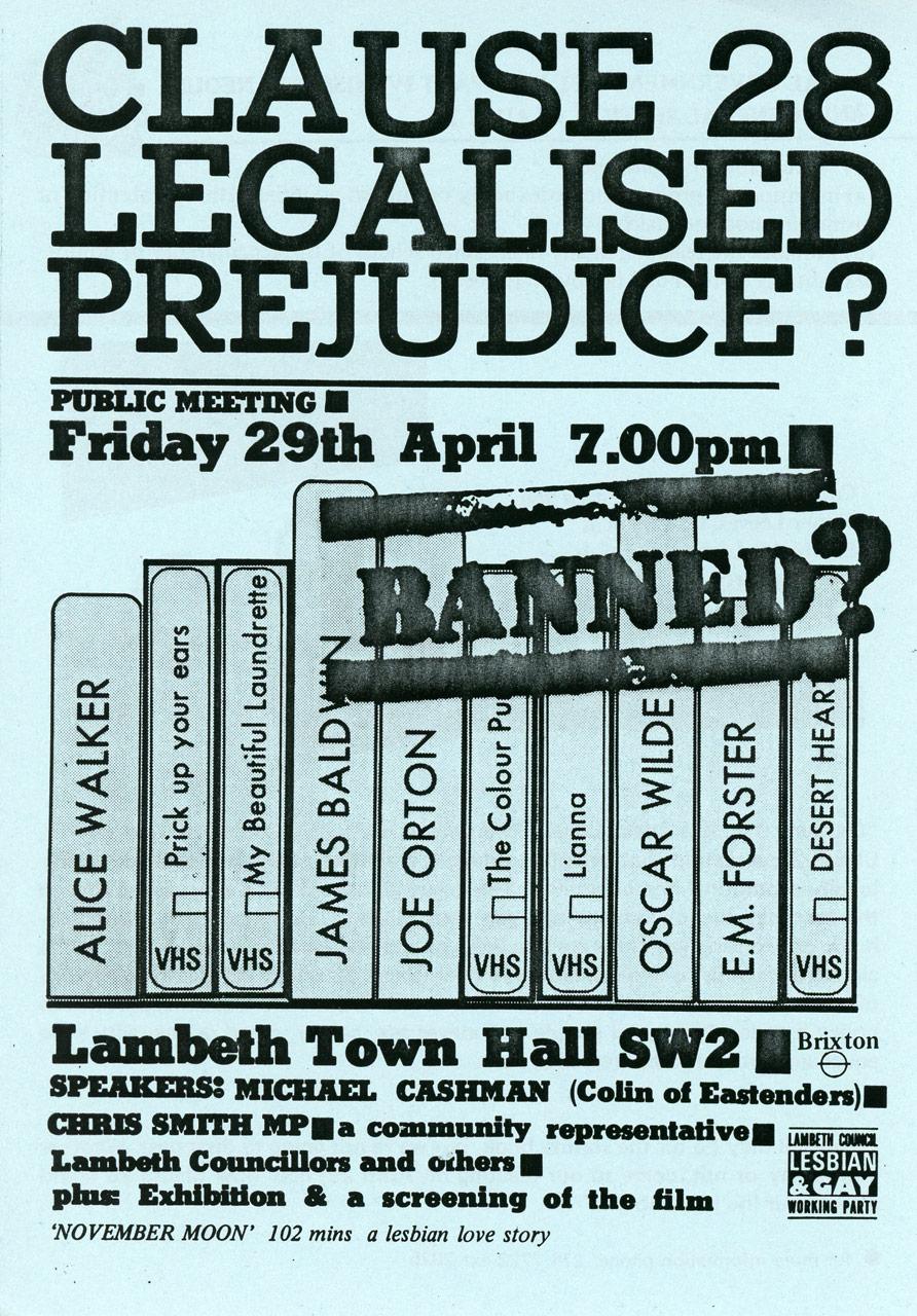 Section 28: Legalised Prejudice? Poster, London, unknown designer, April 1988