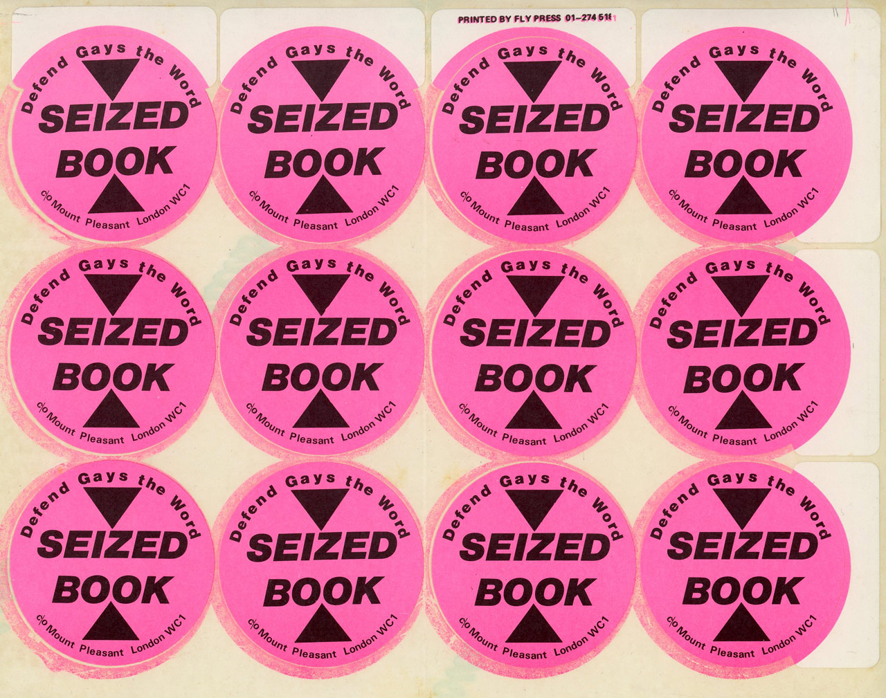 Seized Book stickers for Gay's the Word, 1985