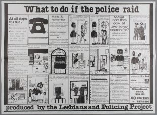 What to do if the police raid (English version), LESPOP, Lesbians and Policing Project poster, designed by Kris Black, c. 1985
