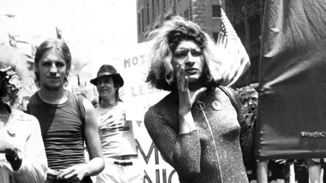 Sylvia Rivera at a demontration