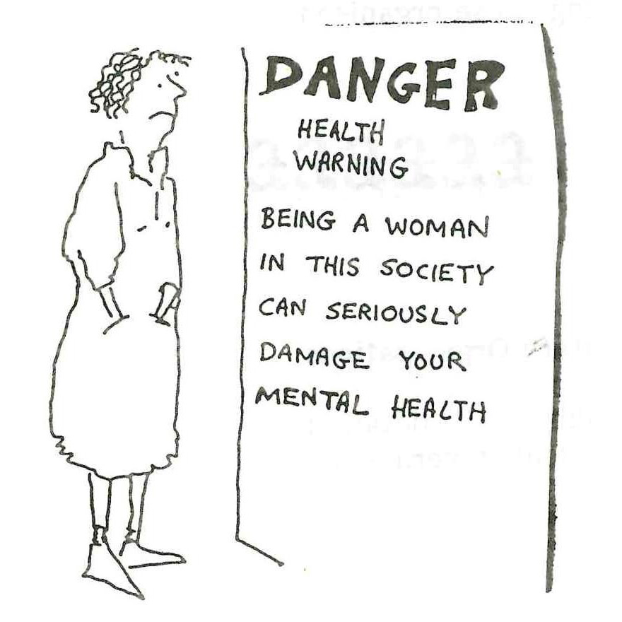 Danger - Health Warning. Illustration, Scottish Women's Aid newsletter, Autumn 1987, page 22.