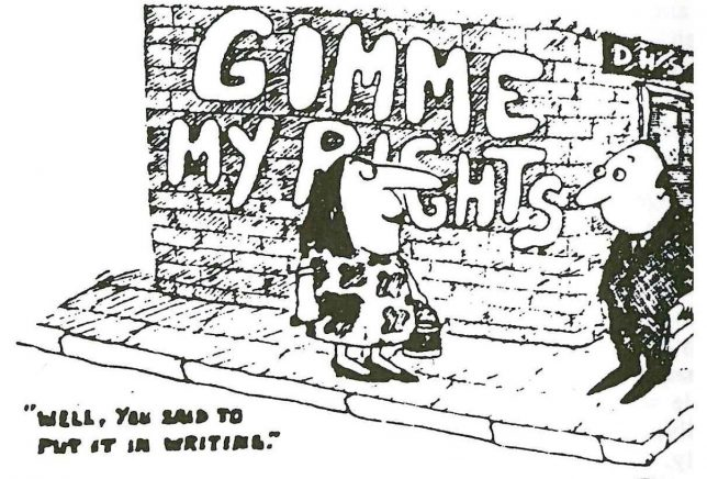 Gimme My Rights. Illustration, Scottish Women's Aid newsletter, March/April 1984, page 14.