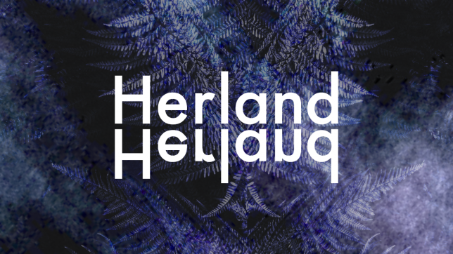 Herland logo on bluey black background which has faint leaves and veins of plants.