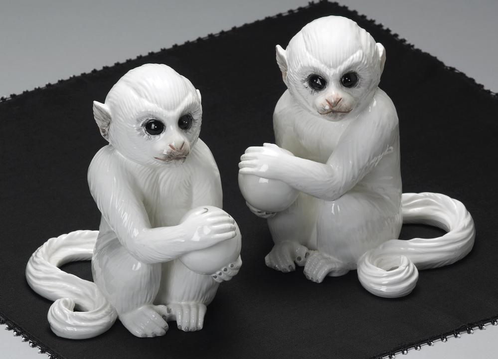 White Monkey bookends by Mottahdeh