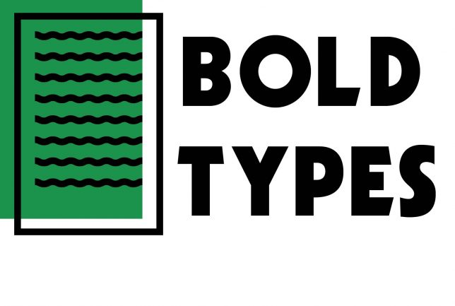 Bold Types Logo that shows a piece of paper with squiggles on it to represent text. The paper has another green rectangle behind it and next to this it says 'Bold Types'