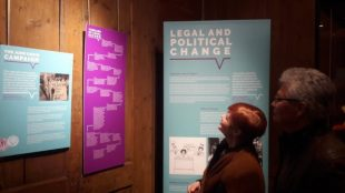 Visitors at the Speaking Out travelling exhibition