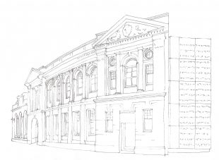 Line drawing of the GWL building, there is no shading but all the details of the facade are picked out and drawn in delicately.