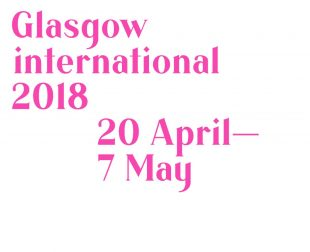 Pink logo that says 'Glasgow international 2018' 20 April - 7 May