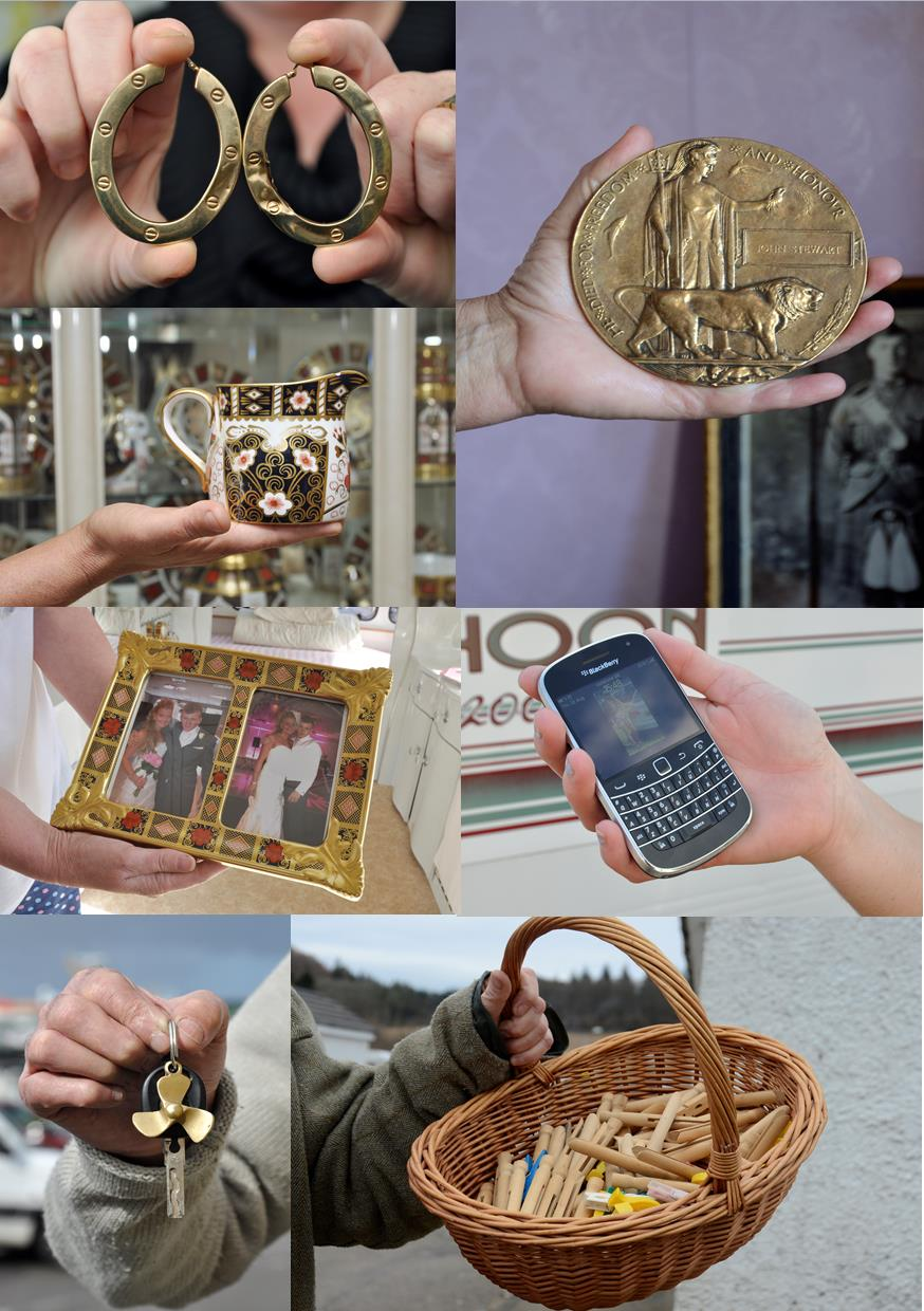 6 separate photographs collaged together displaying hands holding objects ranging from a mobile phone to a basket.
