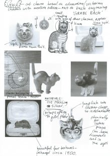 Black and white research collage of cat figurines.