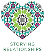 Logo for Storying Relationships, a purple, blue and green heart shaped visual.