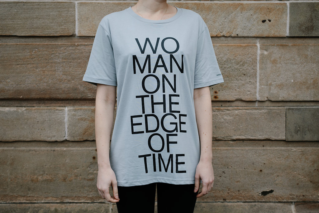 Grey t-shirt with 'Women on the Edge of Time' emblazoned on the front