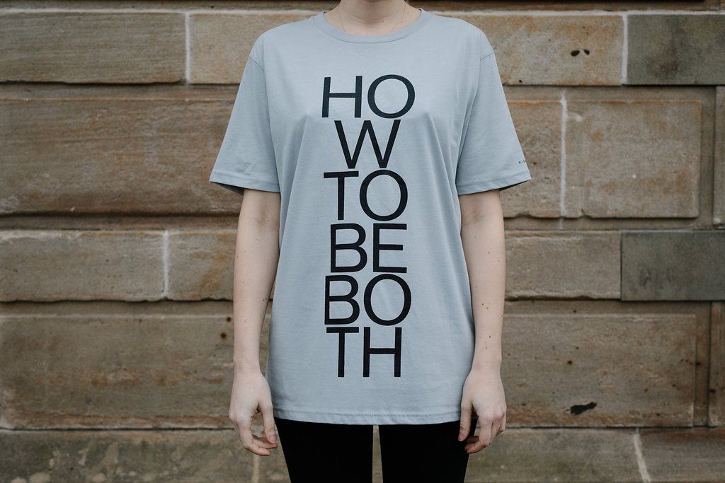 Grey t-shirt with the title 'How to be Both' emblazoned on the front