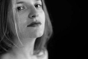 Black and white portrait photo of Salome Benidze
