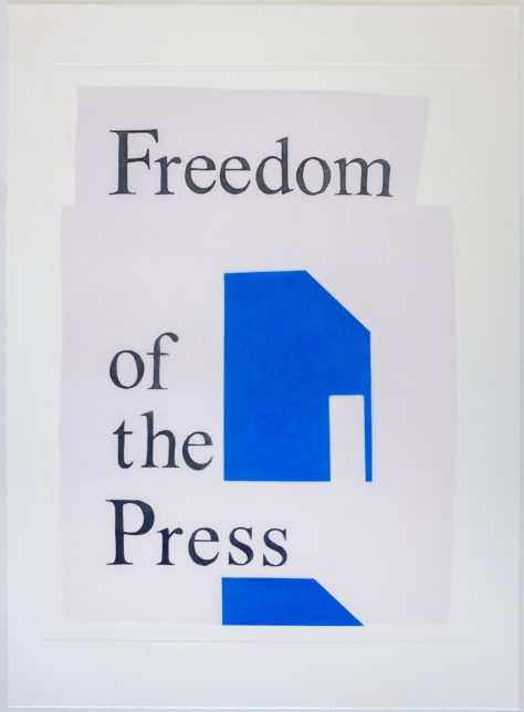 Ciara Phillips, Freedom of the Press, 2017. Photo-etching on paper, edition of 25.