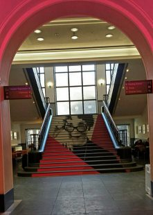 Staircase Installation portrait of Muriel Spark, at the National Library of Scotland
