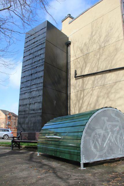 Bike shelter outside Glasgow Women's Library