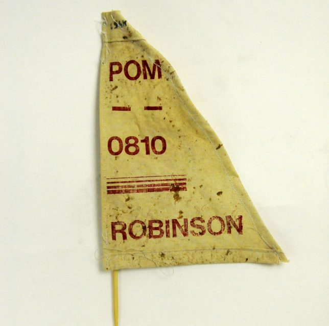 Artwork by Clementine Thomas, looks to be a pennant flag in yellow rough materials with the work 'POM' '0810' and then 'ROBINSON' all in red printed on top.