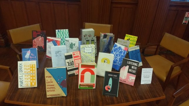 The books from the Making Sparks exhibition, displayed on a table