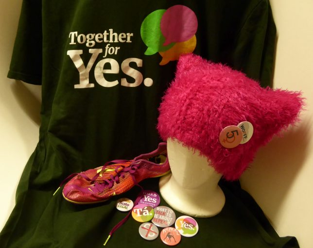Recent Rapid Response additions to our museum collection, including Repeal the 8th campaign material and a pink Women's March Pussy Hat