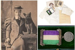 Kate Williams Evans (left), and some of her suffrage-related possessions (right) which have recently been auctioned (Image courtesy of Catherine Southon Auctioneer & Valuer and Wales Online (https://www.walesonline.co.uk/news/wales-news/rare-collection-welsh-suffragettes-belongings-14953061)