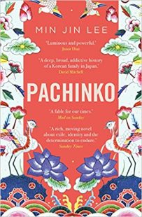 Cover of Pachinko by Min Jin Lee, colorful cover with cranes and flowers on the right and the left