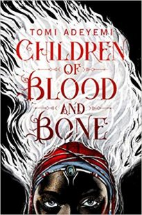 Book cover by Children of blood and bone by Tomi Adeyemi, half face of a black children on the cover with white flame above his head