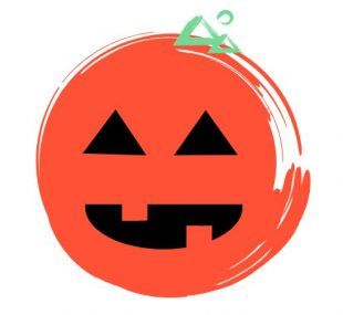 An illustration of a smiling pumpkin with triangle-cut eyes