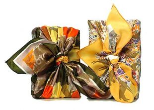 two beautiful silk scarves used for wrapping presents