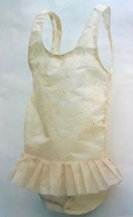 Child's paper swimsuit, made for Tiny Territories exhibition by Caroline Christie