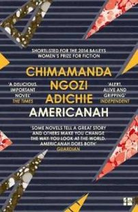 Book cover of 'Americanah', dark blue with colourful geometric shapes