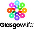 Glasgow Life logo. a circle of small 'g' shapes each a different colour creates a flower like shape. Below is 'Glasgow Life'.