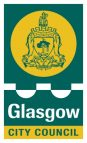 Glasgow City Council logo. A green rectangle with yellow circle showing a crest. Below are the words 'Glasgow City Council'.