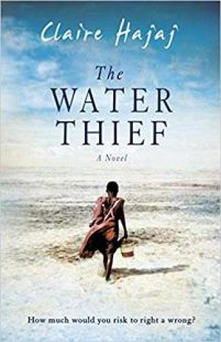 book cover of The Water Thief by Claire Hajai with a figure walking carrying a bucket into a barren land