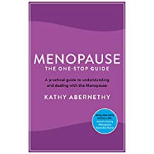 Book cover of Menopause, the one stop guide by Kathy Abernethy. The book is two tone purple with white writing, in small black writing between the title and the author is the words 'A practical guide to understanding and dealing with the menopause. It also has a bight blue circle in the bottom right corner with the words 'by an award-winning specialist nurse'